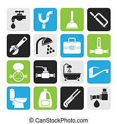 plumbing objects and tools icons - Silhouette plumbing...