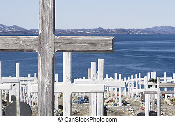 Cemetery - Cross at cemetery by the water - neer Nuuk...