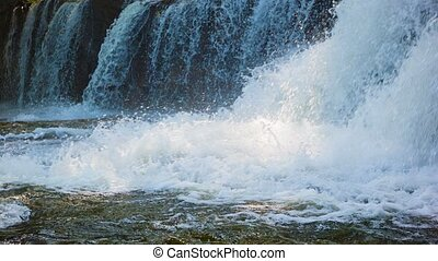 Raging water in a waterfall. Cambodia, Siem Reap. - Video...