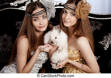 hermoso, elegante, niña, conejo