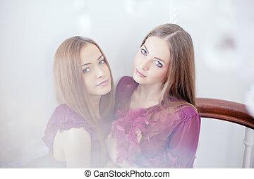 Portrait of two beautiful women - Portrait of two beautiful...