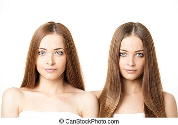 Beauty portrait of two beautiful young women