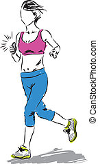 woman running with a smartphone ilustration