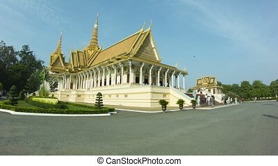 Royal Palace with tourists, Throne Hall in Phnom Penh,...