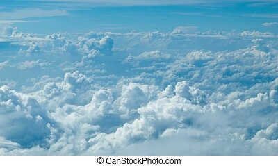 Cumulus clouds. Top view from the aircraft
