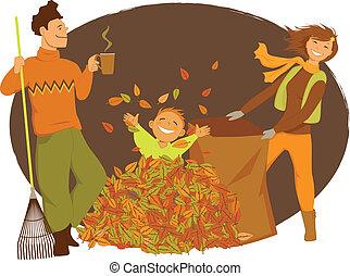 Family raking autumn leaves - Happy cartoon family raking...
