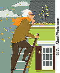 Cleaning a rain gutter - Man standing on a ladder, looking...