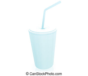 Cup with straw - Fastfood cup illustration glossy metal...