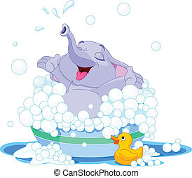 Cute elephant - Illustration of cute elephant takes bath...