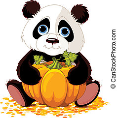 Cute panda - Illustration of cute panda holds pumpkin