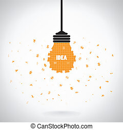 Creative puzzle light bulb Idea concept background ,design...