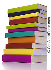 big stack of books - big colorful stack of books isolated...