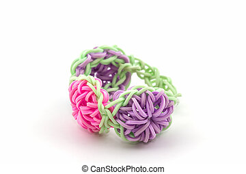 Colorful of elastic rainbow loom bands . - Colorful of...