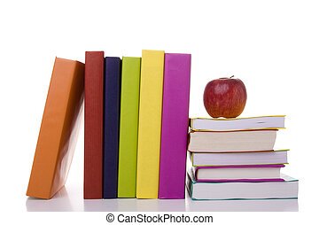 apple over a stack of books