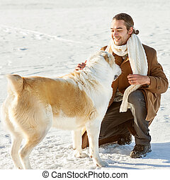 Man and dog friendship forever - Man and central Asian...