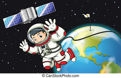 An astronaut in the outerspace near the satellite -...