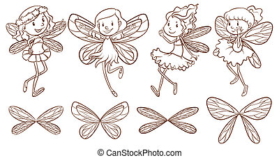 Simple sketches of a fairy - IIllustration of the simple...