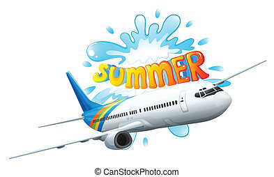 An airplane adventure for summer - Illustration of an...