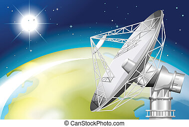 A satellite in the outerspace - Illustration of a satellite...