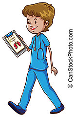 A simple doctor holding a chart - Illustration of a simple...