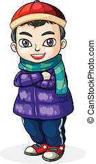 A young Chinese boy - Illustration of a young Chinese boy on...