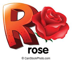 A letter R for rose - Illustration of a letter R for rose on...