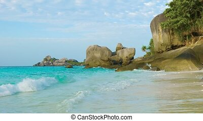 Sea beach and rocks. Thailand, Similan - Video 1080p - Sea...