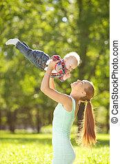 2UTE, 很少, 甜, 公園, 草,  BAB, 母親, 嬰孩