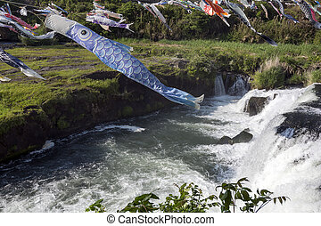 Blue carp streamer swimming above the torrent