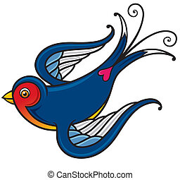 Bird - Vector illustration of Bird - Old-school styled...