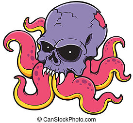 Skull - vector illustration of Cartoon Skull octopus