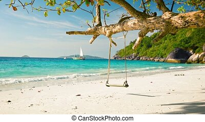 Sailing yacht and tropical beach - beautiful landscape -...