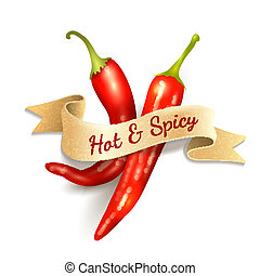 Chili pepper ribbon badge - Red chili pepper hot and spice...