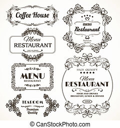 Floral restaurant frames - Decorative floral romantic...