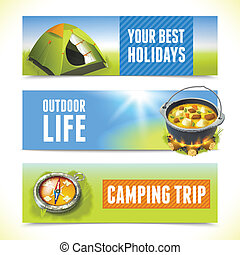 Camping horizontal banners - Camping trip outdoor hiking...