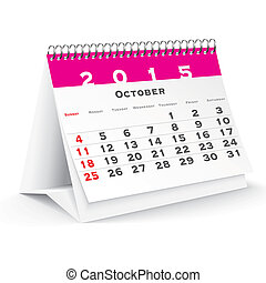 October 2015 desk calendar - vector illustration