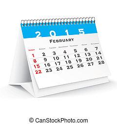 2 月, 2015, 机, カレンダー