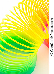 Rainbow colored wire spiral - Rainbow colored wire spiral on...