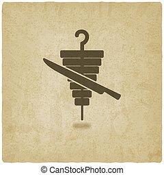 doner kebab old background - vector illustration. eps 10