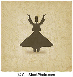 dervish dancer old background - vector illustration eps 10