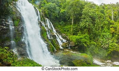 Large waterfall in Thailand near Chiang Mai - general view -...