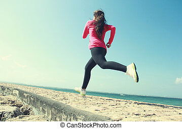 beautiful girl running on the beach - Beautiful healthy girl...