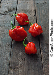 Red Chili pepper Habanero - Red Chili pepper on wood aces...