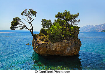 Island and trees in Brela, Croatia
