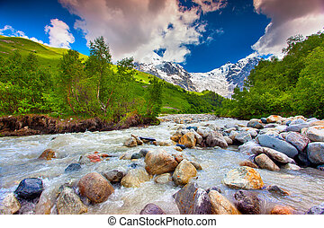 Beautiful landscape with mountain stream. Georgia, Svaneti.