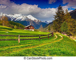 Beautiful spring landscape in the Swiss Alps.