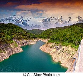 verão, dramático, montanhas, Rio, paisagem