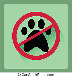 Modern no pet flat icon with shadow effect,vector design
