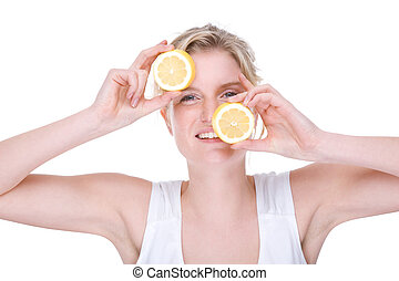 Woman with lemon