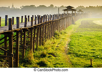 Ubein Bridge at sunrise, Mandalay, Myanmar
